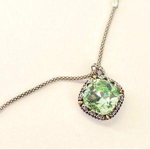 14k gold Necklace with Swarovski Green Stone
